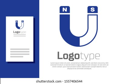 Blue Magnet icon isolated on white background. Horseshoe magnet, magnetism, magnetize, attraction sign. Logo design template element. Vector Illustration