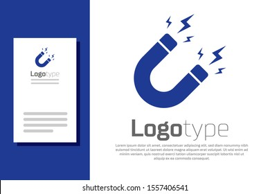 Blue Magnet with lightning icon isolated on white background. Horseshoe magnet, magnetism, magnetize, attraction sign. Logo design template element. Vector Illustration