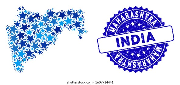 Blue Maharashtra State map composition of stars, and grunge rounded stamp seal. Abstract territory scheme in blue shades. Vector Maharashtra State map is constructed of blue stars.