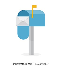 Blue mailbox with white envelope. Vector illustration
