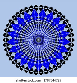 the blue mandala flower which has one hundred ninety-four petals and seven matching circles