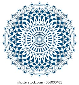 Blue mandala from simple shapes isolated on white background