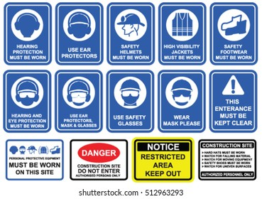 Blue mandatory set of safety equipment signs in white pictogram on blue background.  Wear personal protective equipment , rules and regulations on construction site signage.