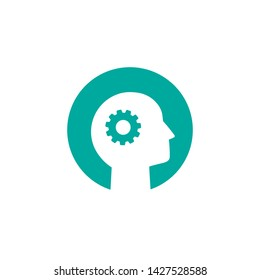 Blue man's head with  gear or cog wheel vector pictogram. Intellect interface toolbar icon. Brain Mechanics sign. Psychology or skills symbol. flat illustration. Isolated on white.