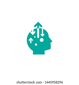 blue man's head with in and out arrows. information flow vector pictogram. Intellect interface toolbar icon. Brain Mechanics sign. flat illustration. Isolated on white.