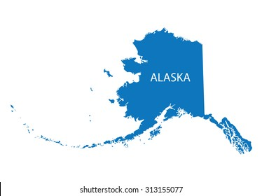 blue map of Alaska