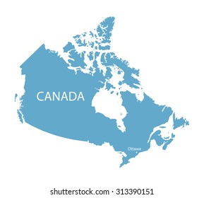 blue map of canada with ottawa marked