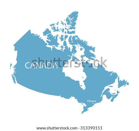 Ottawa On Map Of Canada.Blue Map Canada Ottawa Marked Stock Vector Royalty Free 313390151