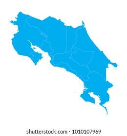 Blue map of Costa Rica