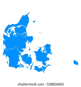 Blue map of denmark