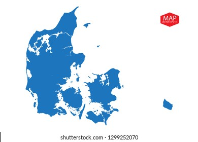 Blue map of denmark, Blue gradient Denmark map. Detailed, Mercator projection, denmark map - blue pastel graphic background . Vector illustration .eps 10 - Vector