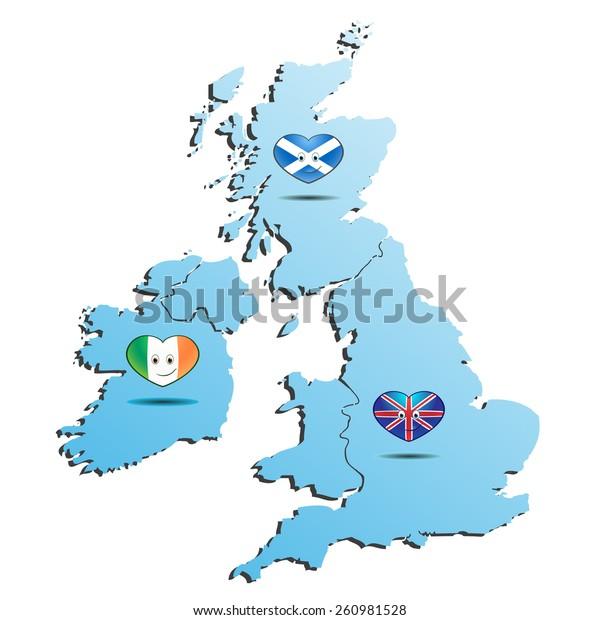 Blue Map England Ireland Scotland Flag Stock Vektorgrafik