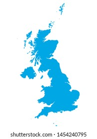 Blue Map of European Country of United Kingdom