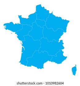 Blue map of France 2016