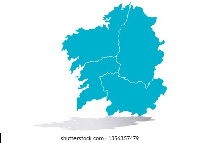 Blue map of Galicia.