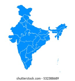 Blue map of India
