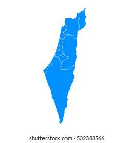 Blue map of Israel