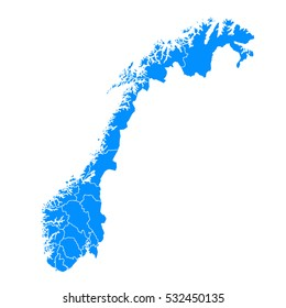 Blue map of Norway
