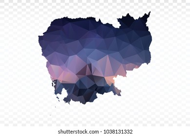 Blue map polygonal-Cambodia map. Multicolored country map in geometric triangle style for your infographics and earth template for website. Vector illustration eps 10.