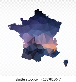 Blue map polygonal-France map. Multicolored country map in geometric triangle style for your infographics and earth template for website. Vector illustration eps 10.