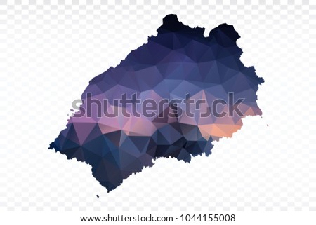 St Helena On World Map.Blue Map Polygonal St Helena Map Multicolored Stock Vector Royalty