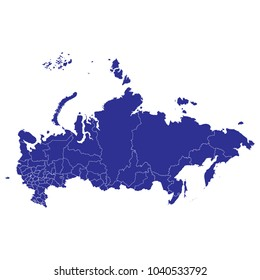 Blue map of Russia. white background vector.