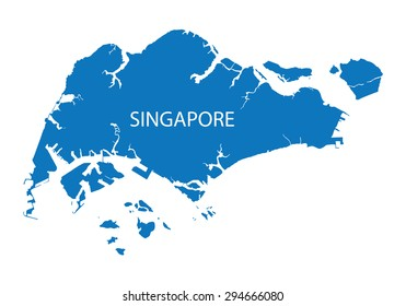 blue map of Singapore