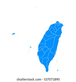 Blue map of Taiwan