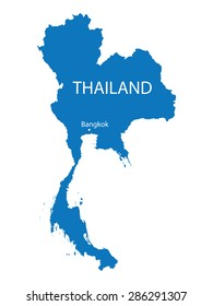 blue map of Thailand