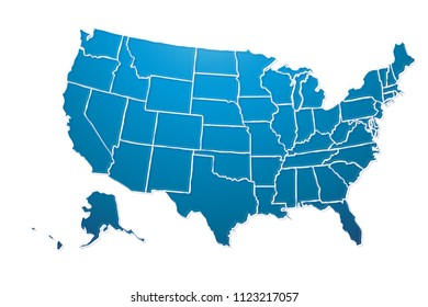 Blue map of the United States of America.