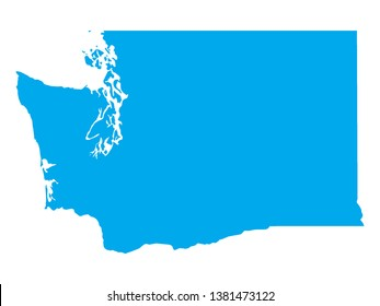Blue Map of US Federal State of Washington