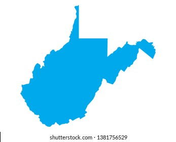 Blue Map of US Federal State of West Virginia