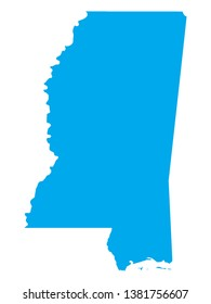 Blue Map of US Federal State of Mississippi