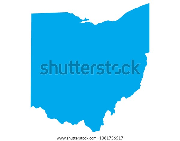 Blue Map Us Federal State Ohio Stock Vector (Royalty Free) 1381756517