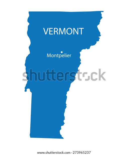 Blue Map Vermont Indication Largest Cities Stock Vector ...