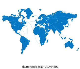 Blue map of the world with flight trajectories. Lot or arcs, connecting points. Global air travel or business concept. Isolated on white background.