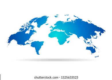 Blue map of world on white background. Vector illustration Eps 10.