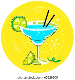 Blue Margarita: Retro cocktail icon on yellow background. Vector Illustration.
