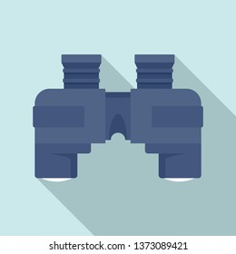 Blue marine binocular icon. Flat illustration of blue marine binocular vector icon for web design
