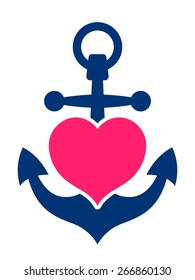 Blue marine or ships anchor with a pink heart symbolizing love and romance, a honeymoon or Valentines cruise or a love of boating and yachting, vector illustration