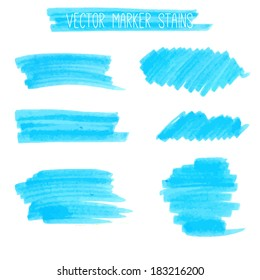 Blue marker lines and stains. Vector textured design elements.