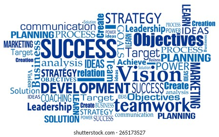 blue marketing business success concept word tag cloud illustration vecto