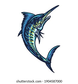 Blue marlin fish, hand drawn line style with digital color, vector illustration