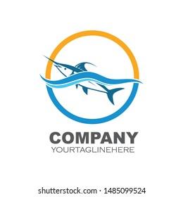 blue marlin fish icon logo illustration vector