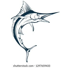 Blue marlin fish vector drawing, marlin fish drawing sketch in full growth, marlin fish in black and white, vector graphics to design