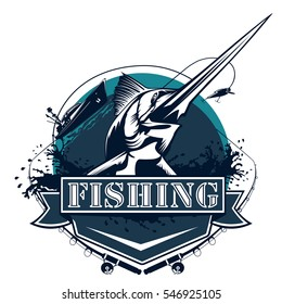 Blue marlin fishing logo illustration