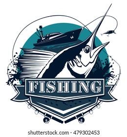 Blue marlin fishing logo illustration.Black  Marline fishing vector illustration isolated on white.