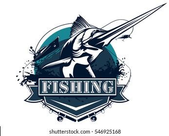 Blue marlin fishing logo illustration.Black  Marline fishing vector illustration isolated on white. Marline vector logo.