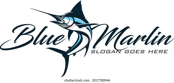 Blue Marlin Logo. Fresh and Unique Modern Blue Marlin Logo Template. Great to use as your Offshore Fishing Activity.