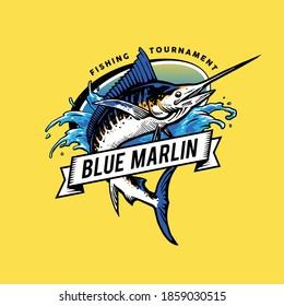 blue marlin for mascot design